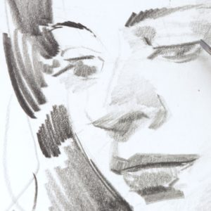 stock image cropped portrait drawing