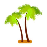 Tropical palm trees collection, green exotic plants with broad leaves growing in sand, symbols of summertime vector illustration isolated on white