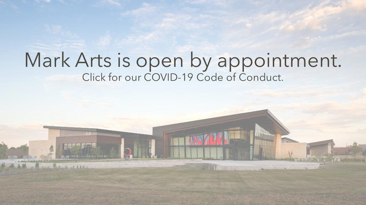 Image of the exterior of Mark Arts. Verbiage says,Mark Arts is open by appointment only.