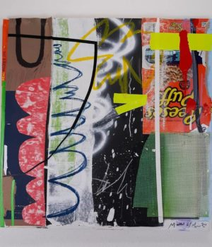 A mixed media piece with a variety of strips of paper and other media including a Reeses Puffs cereal box logo, put together in a collage. Art by Hilyard.