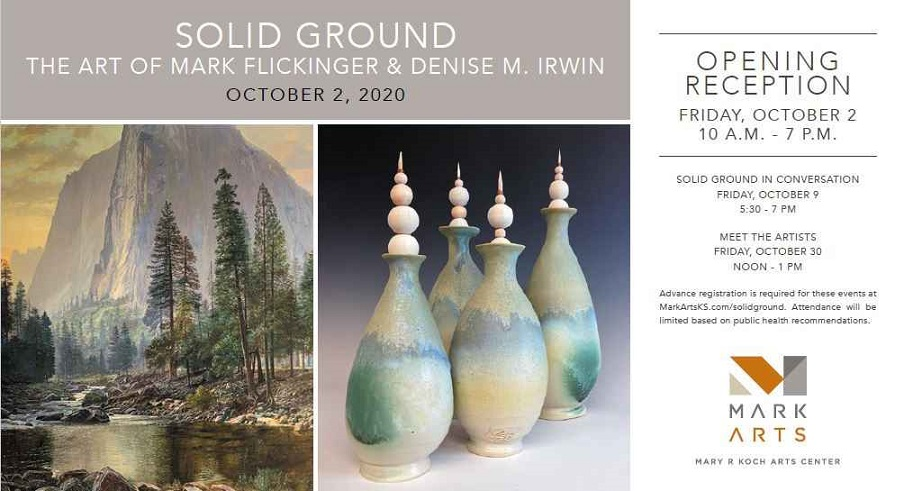 Solid Ground promotional graphic with an image of trees against a mountain, and four ceramic vases in blues and greens. Reception information.