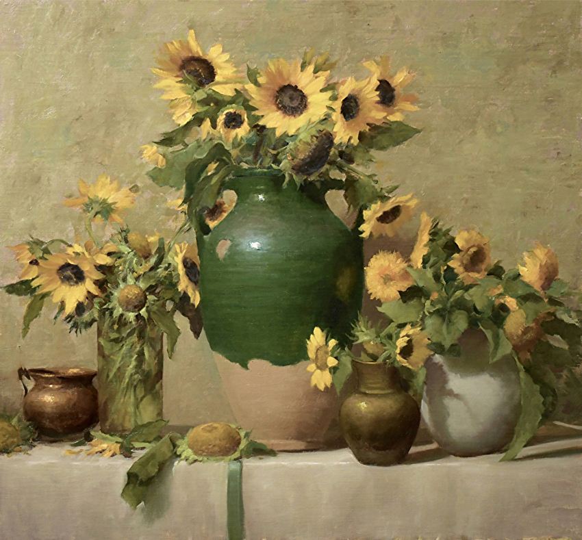 A painting of a table with three vases filled with yellow sunflowers
