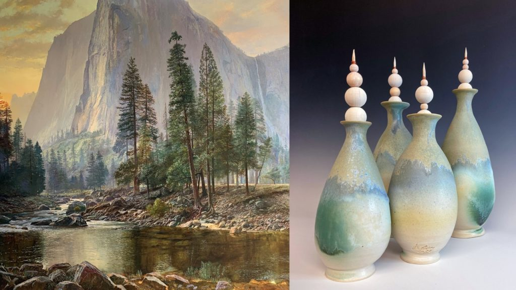 Two side by side images. One is of green trees standing against the backdrop of a mountain. The next image is of four green and blue vases with decorative tops.