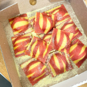 A box of red striped ravioli